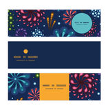 Vector holiday fireworks horizontal banners set. Pattern background graphic design Stock Images