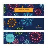 Vector holiday fireworks horizontal banners set. Pattern background graphic design Royalty Free Stock Photos