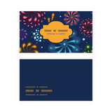 Vector holiday fireworks horizontal frame pattern. Business cards set graphic design Royalty Free Stock Image
