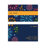 Vector holiday fireworks horizontal stripe frame. Pattern business cards set graphic design Stock Photography