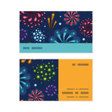 Vector holiday fireworks horizontal stripe frame. Pattern business cards set graphic design Stock Image