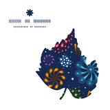 Vector holiday fireworks leaf silhouette pattern Royalty Free Stock Photo