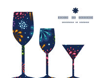 Vector holiday fireworks three wine glasses. Silhouettes pattern frame graphic design Royalty Free Stock Photos
