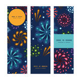 Vector holiday fireworks vertical banners set. Pattern background graphic design Royalty Free Stock Images