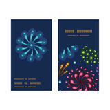 Vector holiday fireworks vertical round frame. Pattern business cards set graphic design Stock Photography