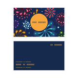Vector holiday fireworks vertical round frame. Pattern business cards set graphic design Stock Images