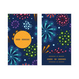 Vector holiday fireworks vertical round frame. Pattern business cards set graphic design Stock Photo