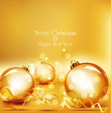 Vector holiday gold background with gold balls Stock Photos