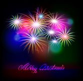 Vector holiday golden fireworks. On the dark background. Lights for design of festive posters and banners for Merry Christmas. Vector illustration Stock Image