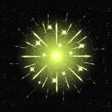 Vector holiday green firework. Vector illustration of holiday green firework in night sky Stock Photography