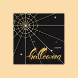 Vector holiday halloween background with spider net spiders and hand drawn text happy halloween Royalty Free Stock Images