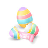 Vector holiday illustration with the broken eggshell and colored egg for greeting banners and flyers design. An eggshell halves with pink ribbon isolated on Royalty Free Stock Photography
