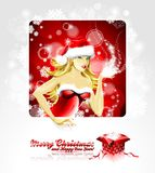 Vector Holiday illustration, on a Christmas theme. With beautiful sexy girl wearing santa claus clothes and magic gift box Royalty Free Stock Photo