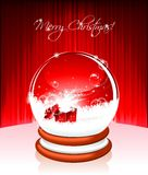 Vector Holiday illustration on a Christmas theme. Vector Holiday illustration on a Christmas theme with snow globe against and magic gift box on red background Royalty Free Stock Photo