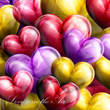 Vector holiday illustration of flying balloon hearts Royalty Free Stock Photography