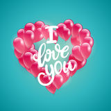 Vector holiday illustration flying bunch of pink balloon heart shape. Happy Valentines Day Royalty Free Stock Photography