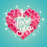 Vector holiday illustration flying bunch of pink balloon heart shape. Happy Valentines Day Royalty Free Stock Image