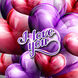 Vector holiday illustration of  I love you handlettered retro label on the balloon hearts background Stock Photos