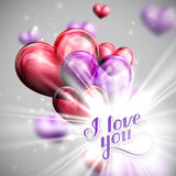 Vector holiday illustration of  I love you label on the balloon hearts background with shiny burst, explosion or flash Royalty Free Stock Images