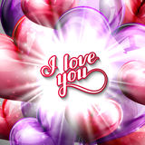 Vector holiday illustration of  I love you label on the balloon hearts background with shiny burst, explosion or flash Stock Photos