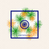 Vector holiday indian independence day background with coloured fireworks and a symbol of a cartwheel Royalty Free Stock Images