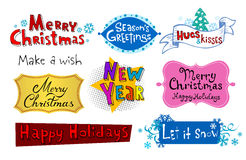 Vector Holiday Inscriptions. Congratulatory Christmas and New Year's inscriptions Stock Photography