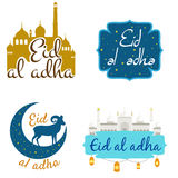 Vector holiday named Eid Al Adha/ Festival of Sacrifice label. lettering composition of muslim holy month with mosque Stock Images