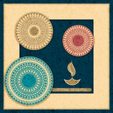 Vector holiday postcard. diwali festival of lights. hindu design with mandala. Vector indian holiday postcard. diwali festival of lights. hindu design with Stock Image