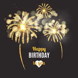 Vector holiday poster Happy Birthday. Vector birthday card with golden fireworks. Stock Photography