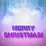 Vector holiday present card with Christmas toys. Vector holiday present card with `Merry Christmas` text on it and with Christmas balls Stock Photos