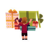 Vector holiday present gift boxes pile and boy . Vector holiday present gift boxes, packaging pile and boy. Flat cartoon isolated illustration on a white Stock Photos