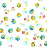 Vector holiday seamless pattern with balloons and gift. Colorful illustration Stock Images