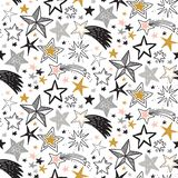 Vector holiday seamless pattern with hand drawn stars. royalty free illustration