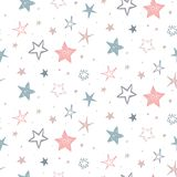 Vector holiday seamless pattern with hand drawn stars. Endless festive background. vector illustration