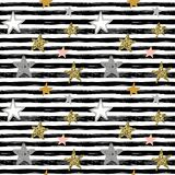 Vector holiday seamless pattern with hand drawn stars and stripes. vector illustration