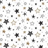 Vector holiday seamless pattern with hand drawn stars. stock image