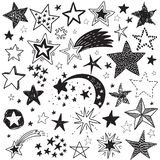 Vector holiday set of hand drawn stars. Festive black and white collection royalty free illustration