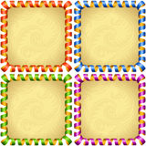 Vector holiday square frame set. Red, blue, green and purple streamer Royalty Free Stock Photo