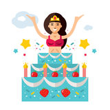 Vector Holiday surprise. Beautiful woman jumping out of the cake. Flat style colorful Cartoon illustration. Royalty Free Stock Images