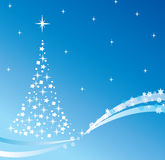 Vector holiday tree. On blue background Stock Photo