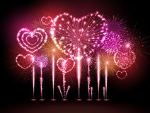 Vector holiday valentine firework Stock Photography