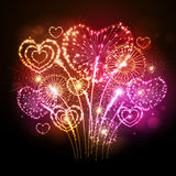Vector holiday valentine firework Royalty Free Stock Photography