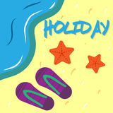 Vector holidays with background beach. Vector image holidays with background beach Royalty Free Stock Image