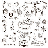 Vector Holidays doodle set Royalty Free Stock Photography