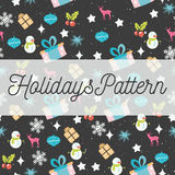 Vector Holidays seamless pattern with Christmas, New Year design elements. Vector Holidays seamless pattern with reindeers, gifts, snowmen, holly berries, balls Royalty Free Stock Photo