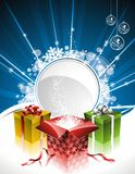 Vector Holliday illustration with gift boxes Royalty Free Stock Images
