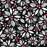 Vector holly berry black, white, red holiday seamless pattern background. Great for winter themed packaging, giftwrap. Gifts projects. Surface pattern print royalty free illustration