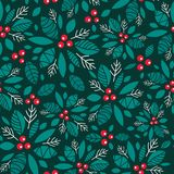 Vector holly berry dark green, red holiday seamless pattern background. Great for winter themed packaging, giftwrap. Gifts projects. Surface pattern print Royalty Free Stock Photography