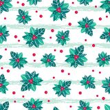 Vector holly berry grunge stripes holiday seamless pattern background. Great for winter themed packaging, giftwrap Royalty Free Stock Image