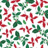 Vector holly berry holiday seamless pattern background. Great for winter themed packaging, giftwrap, gifts projects. Surface pattern print design Stock Photography